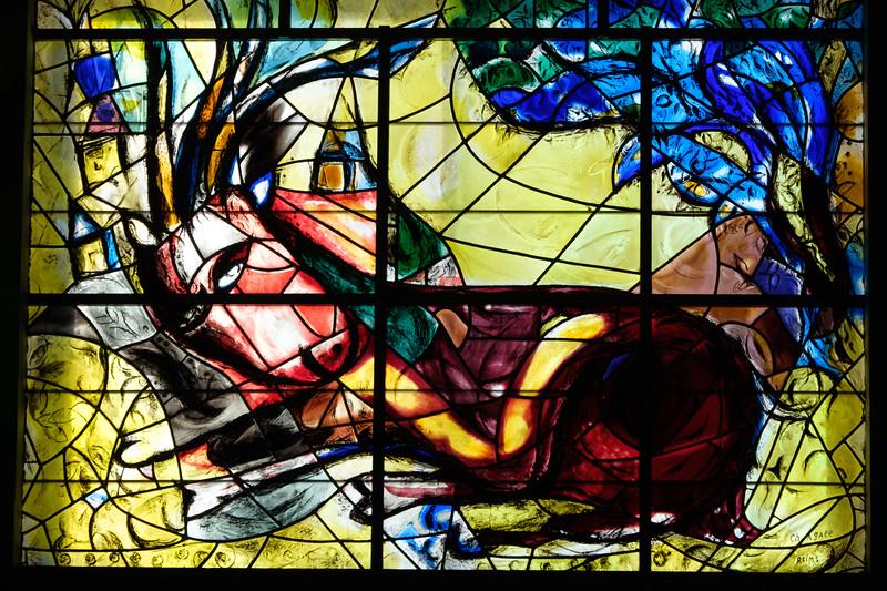 Naphtali. The Chagall windows at the Hadassah Hospital synagogue, Ein Kerem, Jerusalem
