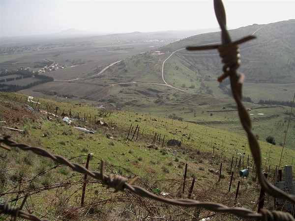 Standing at  Golan Heights overlooking Syria