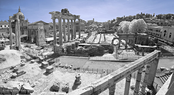 Roman Forum in IR, Rome, Italy