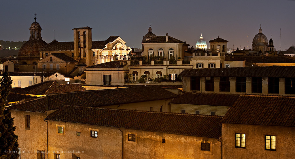 Rooftops of Rome, Italy, at night