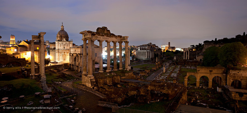 Roman Forum at night, Rome, Italy