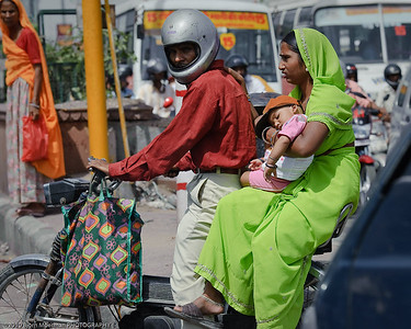 Family on a motorbike in Jaipur