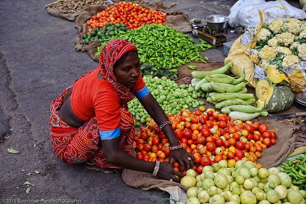 Selling vegetables in Jaipur