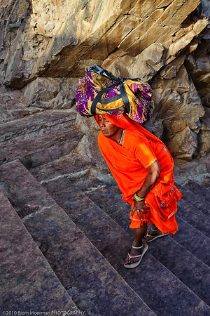 Climbing the steps at Galta temple