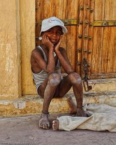 Boy with a new cap at Jantar Mantar