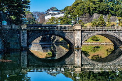 Yokyo Japan Imperial Palace Nijubashi double-arched stone bridge