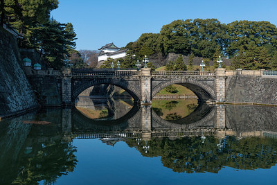 Tokyo Japan Imperial Palace Nijubashi double-arched stone bridge