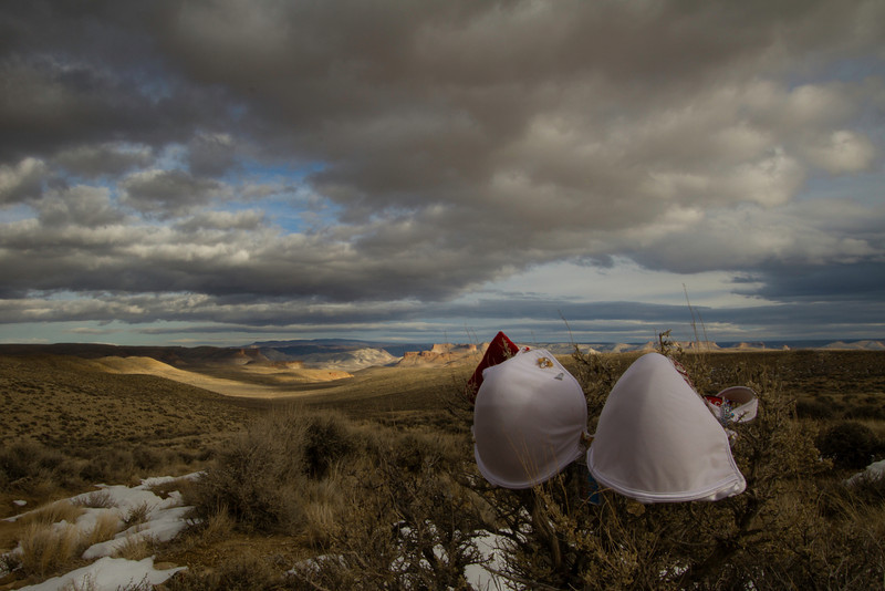 November 28th, 2012 - Round 2<br /> <br /> The second try went better. Trying to introduce Jenifer to our wide open spaces. The wind was calmer but the sky was still pretty moody trying to give us snow.<br /> <br /> The lit buttes in the background are a section of Flaming Gorge called Lost Dog.<br /> <br /> Happy Wednesday!