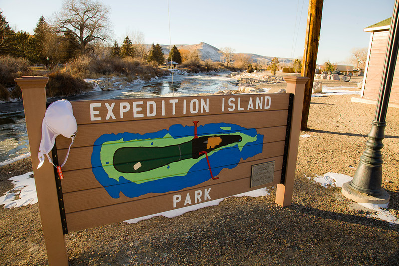 "December 16th, 2012<br /> <br /> Jennifer at Expedition Island - Green River, Wyoming. Its a national historic landmark in down town here.<br /> <br /> From its website: ""Expedition Island, near the present day town of Green River, Wyoming, was the starting point for the two expeditions down the Green and Colorado Rivers led by Major John Wesley Powell in 1869 and 1871. On these expeditions Powell completed the exploration of the last, large, unknown land area in the continental United States. Exploration of the unknown Colorado River by Powell and his crew opened up a new era for the nation. New concepts of conservation, reclamation, forestry and water management, geological and geographical surveys, and a whole new and scientific approach to the western lands ensued."""