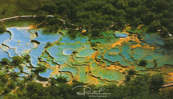 Multi-Coloured Pond - The shape and form of the hundreds travertine ponds, travertine streams and the unique karst landscape is fascinating to be photographed and documented.