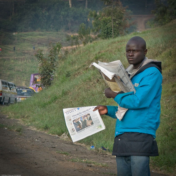 Newspaper seller, Nairobi, Kenya