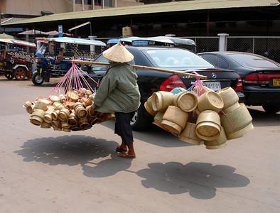 bamboo basket woman, Vientiane