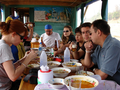 meal with fellow travelers on the river