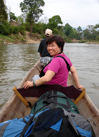 Germaine on the river in Laos
