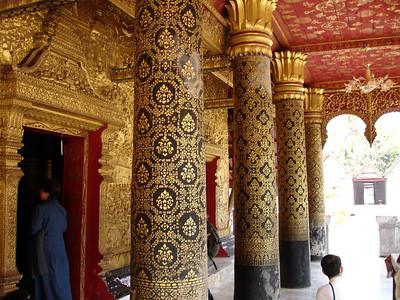 stenciling at a monastery temple, Luang Prabang, Laos