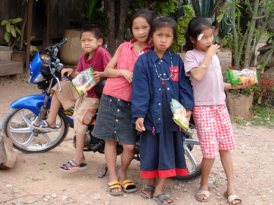 kids hanging cool in Lao village - 2007