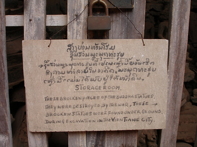 sign at Wat Si Saket, Vientiane