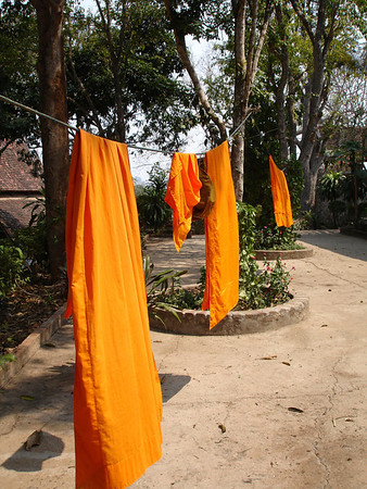 monks robes drying