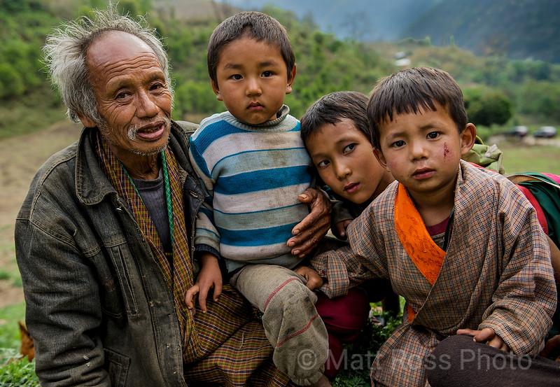 Bhutanese Grandfather with grandchildren