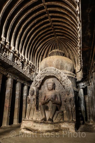PREACHING BUDDHA, ELLORA CAVE NO. 10, THE VISHWAKARMA OR 'CARPENTER'S CAVE'