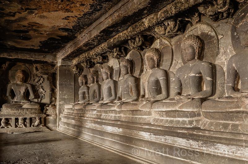 THE SEVEN BUDDHAS IN MEDITATION ATTITUDE, CASE 12, ELLORA