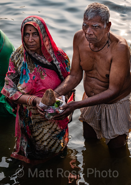 COCONUT OFFERING, PUJA, TO MOTHER GANGA