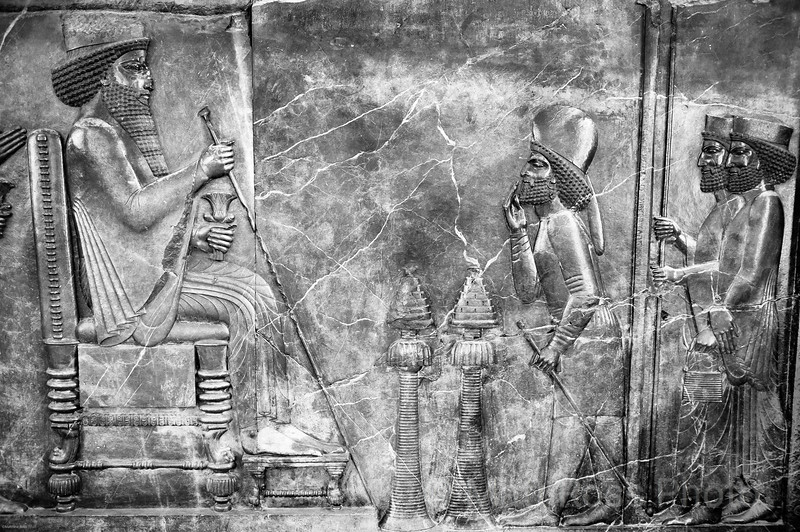 DARIUS I, RECEIVING TRIBUTES, FROM THE CENTRAL RELIEF OF THE NOTH STAIRS OF THE APADANA PALACE, PERSEPOLIS