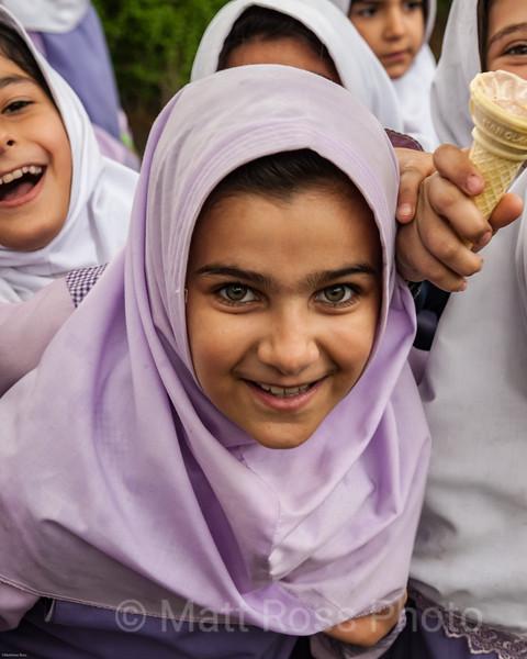 IRANIAN GIRLS, IN LINE FOR ICE CREAM, SA' DABAD COMPLEX