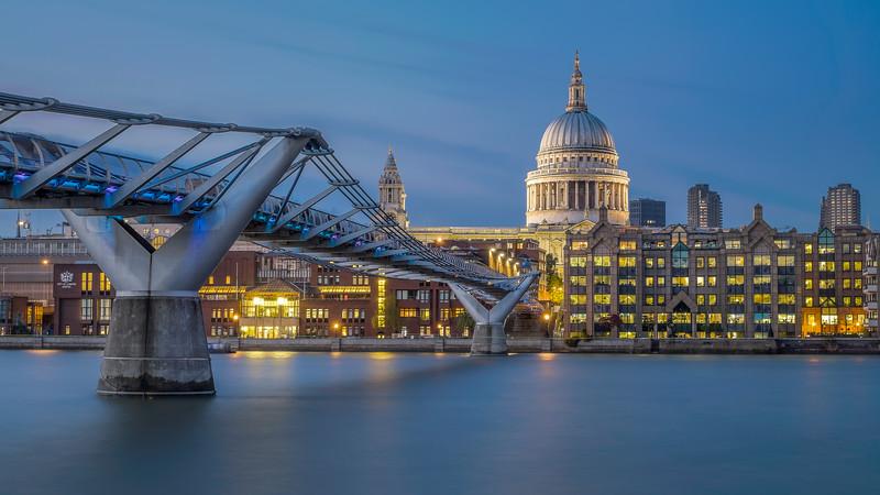 St Paul's and Millennium bridge (East side)