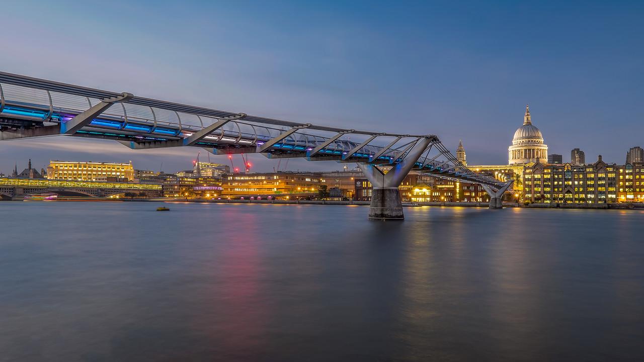 Millennium Bridge and St Paul's panorama - London