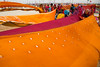 Drying saris after bathing in Ganges. Maha Kumbh Mela 2013, Allahabad, India