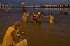 A pilgrim doing puja by the Ganges river. Maha Kumbh Mela 2013, Allahabad, India