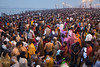 Pilgrims bathing at the confluence or the Ganges and Yamuna rivers on Basant Panchami Snan, one of the main bathing days during Kumbh Mela. Maha Kumbh Mela 2013, Allahabad, India