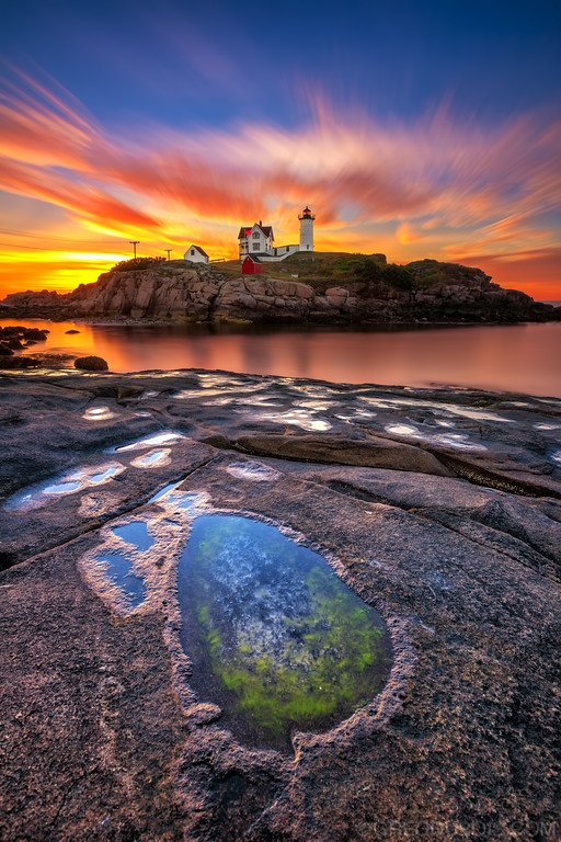 Nubble Lighthouse York Maine at Sunrise with Tide Pool
