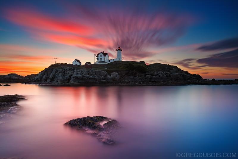 Nubble Lighthouse York Maine at Sunrise