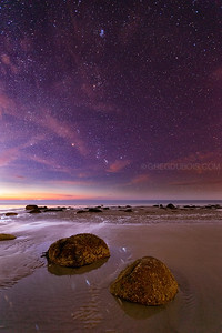 Drakes Island Beach Sea Rocks at Dawn with Stars in Wells Maine