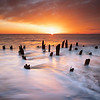 Yirrell Beach Sunrise with Decayed Pier at Deer Island in Boston Massachusetts
