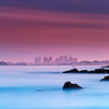 Boston Skyline at Sunset over Revere and Winthrop from Lewis Cove Nahant, Massachusetts
