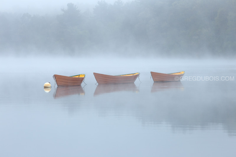 Dory Boat Daisy Chain on Merrimack River with Sea Smoke at Lowell's Boat Shop Amesbury Massachusetts