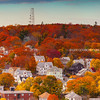 Boston Suburbs with Peak Fall Foliage during Indian Summer in Malden Massachusetts before Sunset