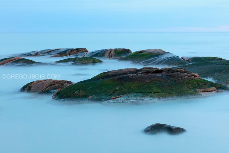 Wingaersheek Beach Sea Rocks at Dawn with High Tide in Gloucester Massachusetts