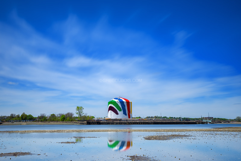 National Grid Rainbow Swash Gas Tank and Squantum Point Tidal Flats, Quincy Massachusetts