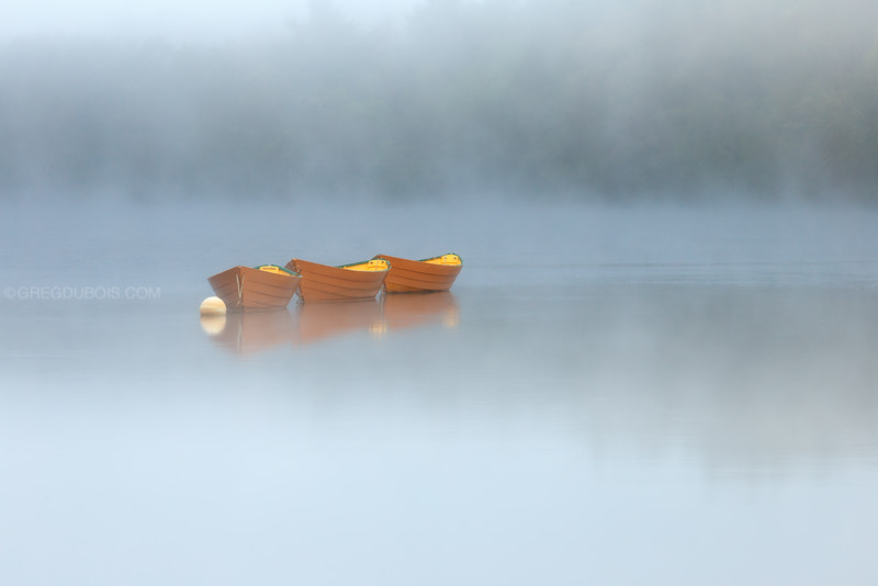 Dory Boats on Merrimack River with Fog and Sea Smoke in Amesbury Massachusetts