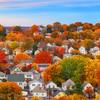 Pastel Sunset over Boston Suburbs and Fall Trees in Everett Massachusetts
