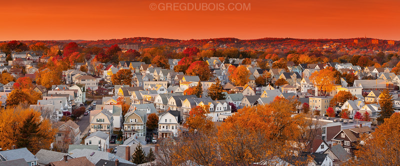 Boston Suburbs with Peak Fall Color during Golden Hour, Everett and Chelsea Massachusetts with Revere Hills