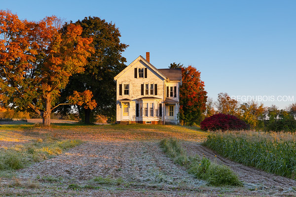 Massachusetts Farm in Autumn at Sunrise with Frost