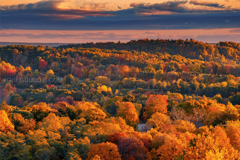 Golden Sunrise Light and Fall Color over Rolling Hills of Merrimack Valley