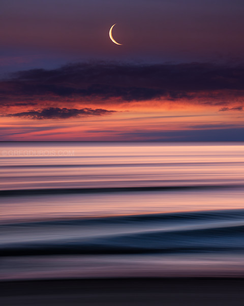 Winthrop Beach Sunrise with Crescent Moon and Pan Motion