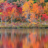Peak Fall Tree Reflections at Stevens Pond in Boxford Massachusetts