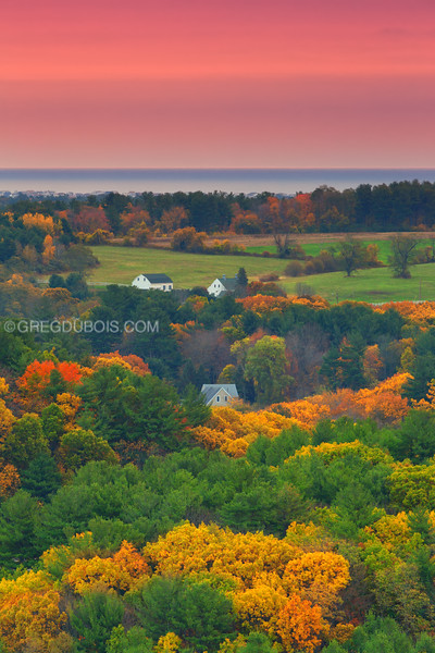 Sunrise over Hampton Beach and Salisbury Farmland in Fall